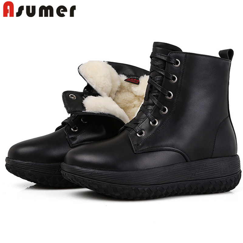 ASUMER 2020 top quality genuine leather wool snow boots round toe lace up flat platform shoes simple winter ankle boots women