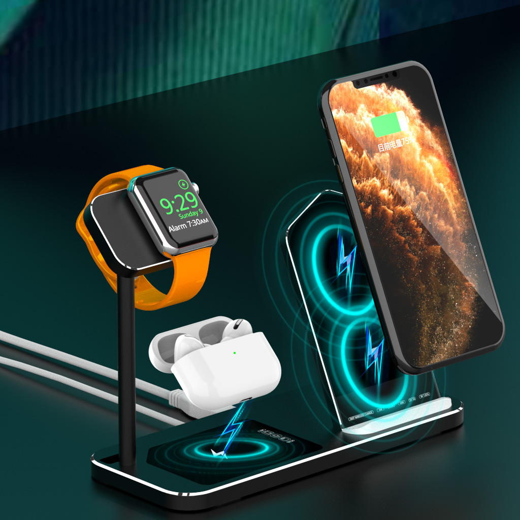 18W 3 in 1 QI Fast Wireless Charger Stand Dock For iPhone XR XS Max 8 Fast Charging Dock Station for Apple iWatch 5 AirPods Pro
