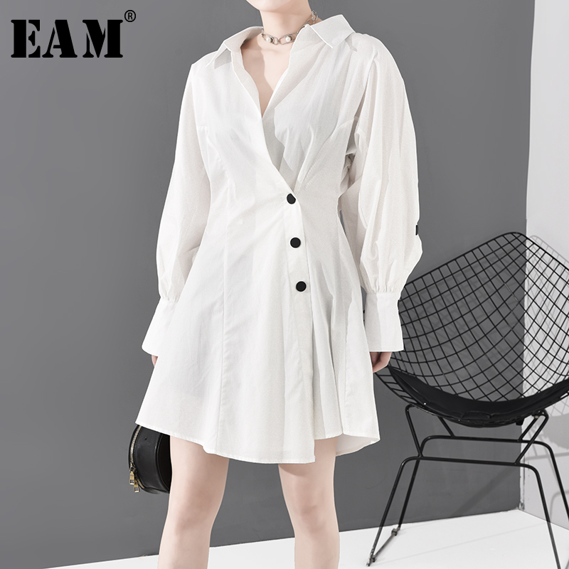 [EAM] Women White Pleated Split Joint Temperament Dress New V-eck Long Sleeve Loose Fit Fashion Tide Spring Autumn 2020 WF0430