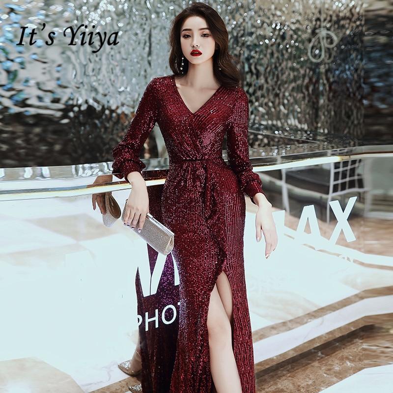It's Yiiya Evening Dress For Women Silver Shining Robe De Soiree Elegant Split Full Sleeve Gowns Mermaid Long Evening Dress K062