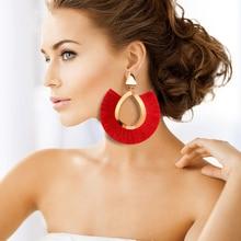 цена Bohemian Big Tassel Drop Earrings for Women Lady Female Fringe Handmade Brincos Statement Fashion Woman Earring