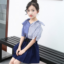 Children Summer Dress 2019 Casual Style Girls V-Neck Clothing Set Striped  Short Shirt+Skirt Girls Suits Boutique Kids Clothing new girls v neck strap dress hot long denim jeans two pieces suits shirt dress kids clothing sets white stripe button