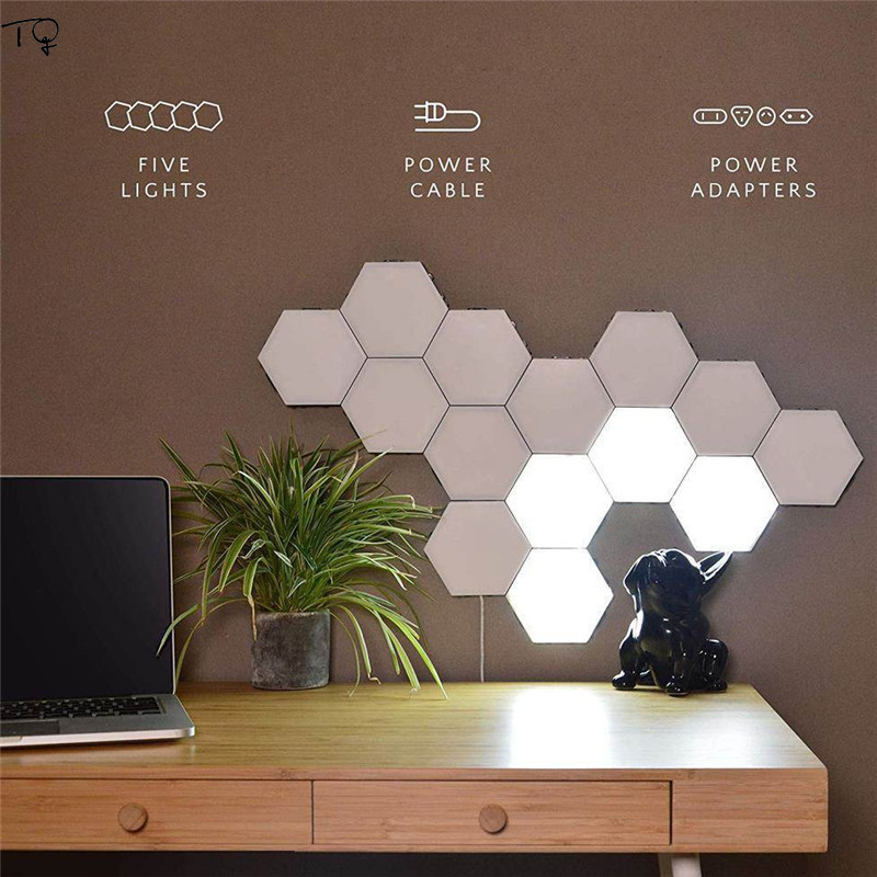 British Honeycomb Modular Assembly Touch Switch Wall Lamp LED Hexagon Quantum Light Creative Geometry Wall Light Bathroom Stairs in LED Indoor Wall Lamps from Lights Lighting