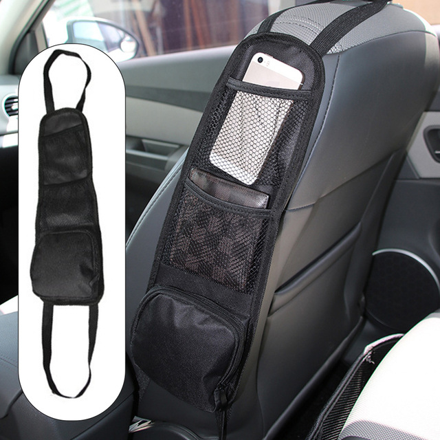 Car Seat Storage Bag Seat Side Hanging Bag Mesh Organizer for Small Items Useful Car Interior Accessories