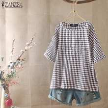 2020 ZANZEA Summer Short Sleeve Blouse Women Casual O Neck Party Shirt Vintage Check Plaid Tunic Tops Blusas Female Chemise Robe