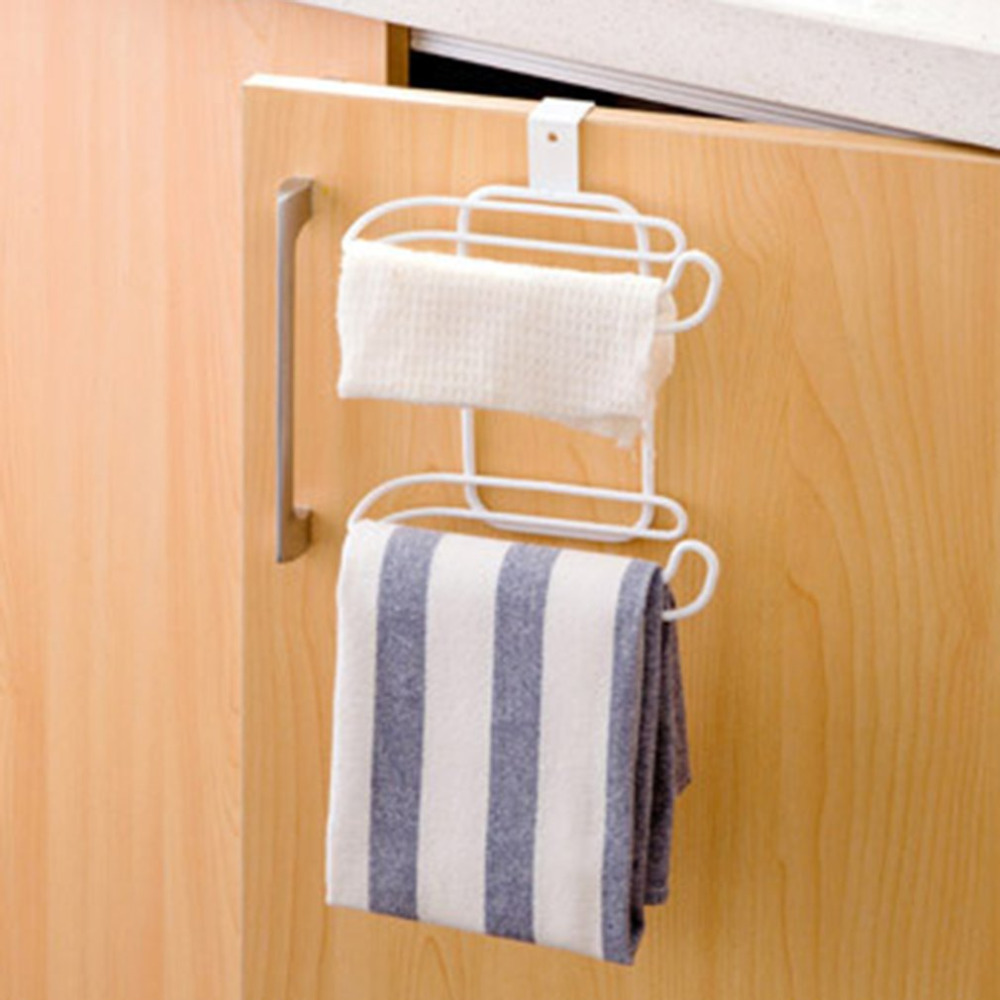 Quality 2 Layers Stainless Steel Roll Paper Holder Hanging Organizer Bathroom Toilet Seat Towel Shelf Kitchen Storage Rack Door