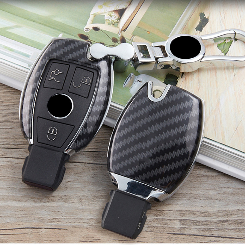 Mercedes A B C E Class W204 W205 W212 W213 GLC GLA GLK GLA CLA Carbon Fibre ABS Plastic Key Case Protective Cover Key Ring Chain image