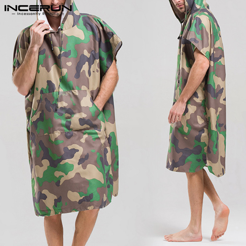 Quick Dry Men Bathrobes Camouflage Print Short Sleeve Pockets Hooded Robes Breathable Men Homewear Beach Ladies Bathrobe INCERUN
