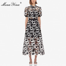 MoaaYina Fashion Designer Runway dress Autumn Women Dress Turtleneck Short sleeve Abstract Guipure Lace Hollow Out Dresses