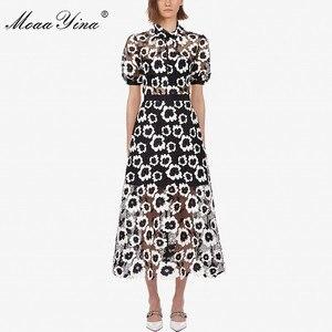Image 1 - MoaaYina Moda Tasarımcı Pist elbise Sonbahar Kadın Elbise Balıkçı Yaka Kısa kollu Soyut Gipür dantel kesik dekolte Elbiseler