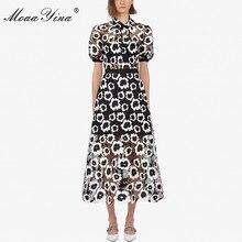 MoaaYina moda diseñador pasarela vestido otoño mujeres vestido cuello alto manga corta abstracto guipur encaje ahuecado vestidos