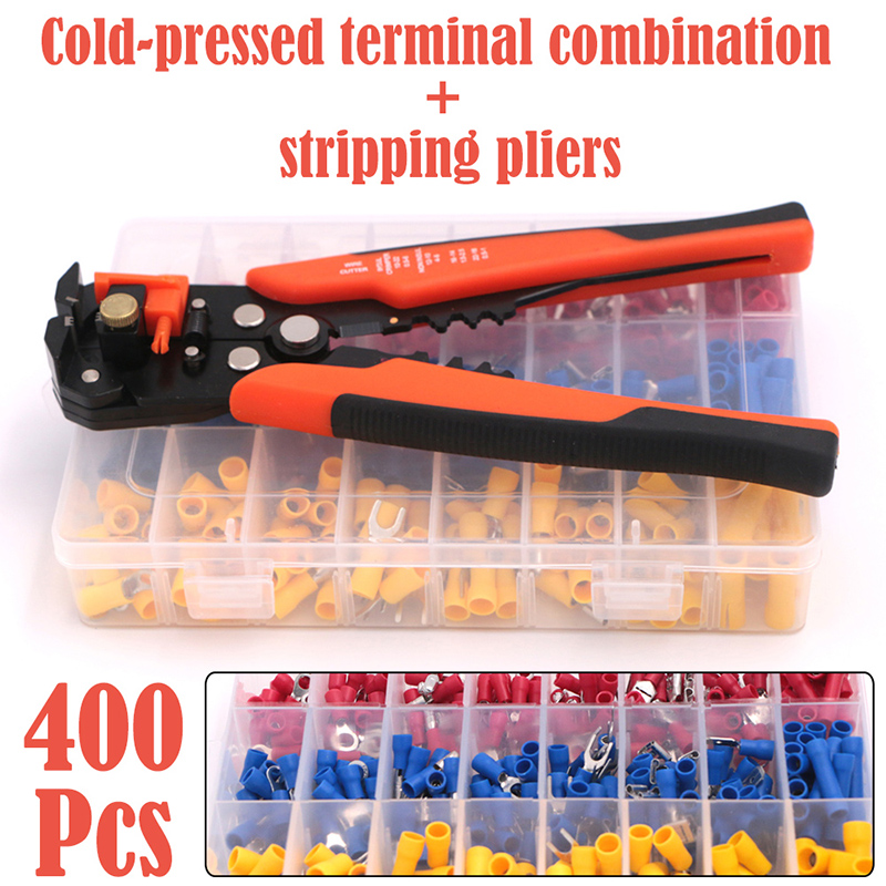 Connectors And Electrical Wire Stripper Crimper Terminal Kit 400Pcs Cable Wire Stripper Cutter Cold Pressed Terminal Connector