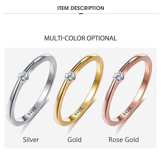 SILVERHOO 925 Sterling Silver Rings for Women Cute Zircon Round Geometric 925 Silver Wedding Ring Fine Jewelry Minimalist Gift 3
