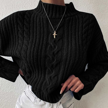 Autumn Knitted Turtleneck Sweaters Women Solid Long Sleeve Fashion Loose Pullovers Female 2020 New Winter Casual Lady Sweater [eam] oversized knitting sweater loose fit turtleneck long sleeve women pullovers new fashion tide spring autumn 2020 19a a43