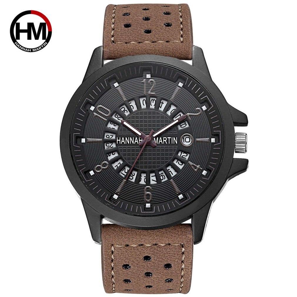 Hannah Martin HM-1601 Luxury Men Wrist Watch Waterproof Male Sport Watch Fashion Leather Strap Quartz Wristwatch