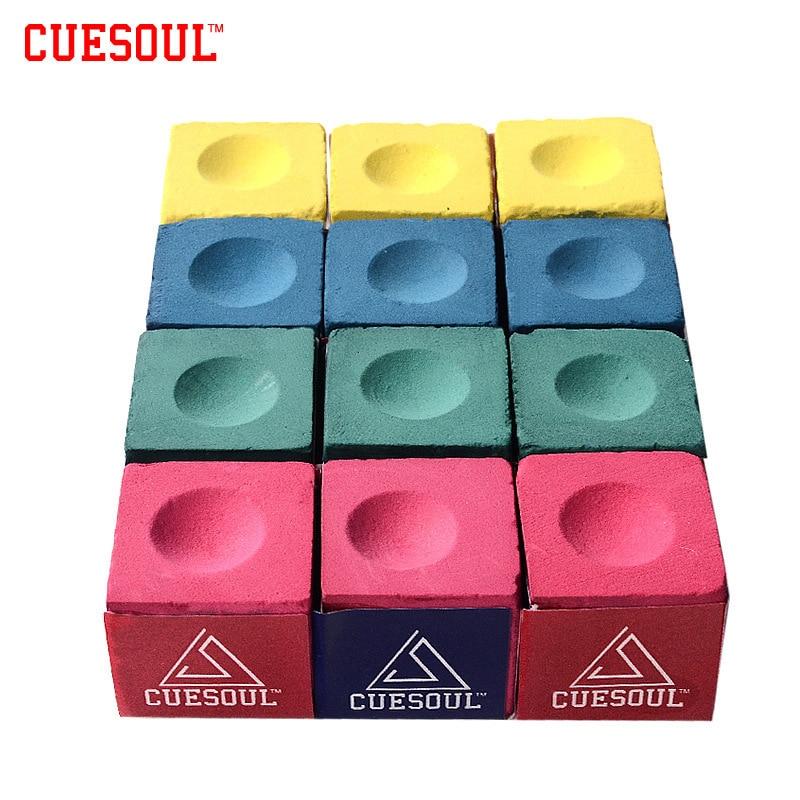 Cuesoul 3pcs/set Snooker Billiard Chalk Pool Cue Chalk Oil Dry Billiard No-slip Chalk Pink Green Blue Yellow