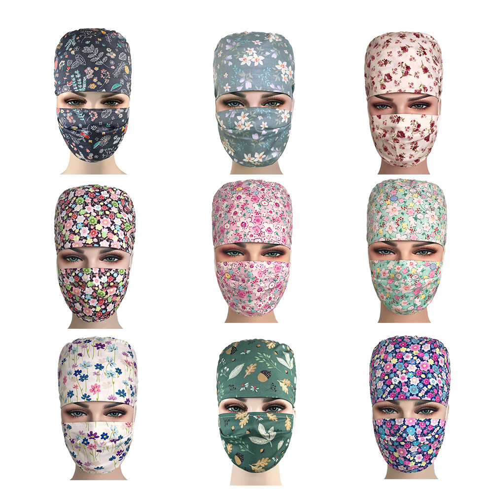 2019 Women's Scrub Caps Masks Adjustable Medical Accessories Surgical Caps Cotton Facial For Doctor Nurse Work Scrub Hats Mask