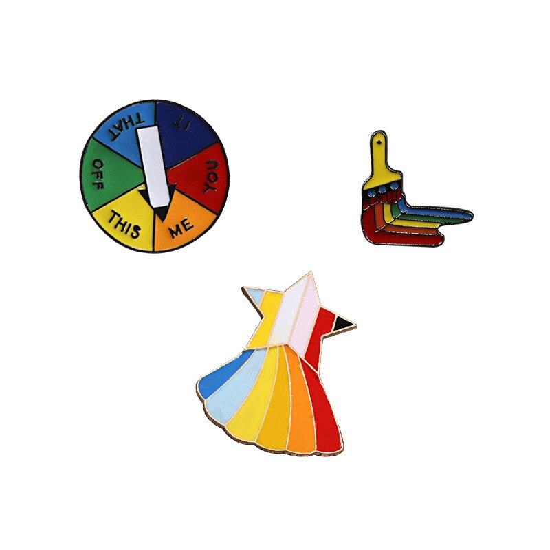 2-3 шт./компл. значок булавки на лацканы ювелирные изделия броши на булавке, Радуга Мышь палец игры поворотный стол овец куртки кнопка Радужный Флаг ЛГБТ брошь подарок - Окраска металла: style 8