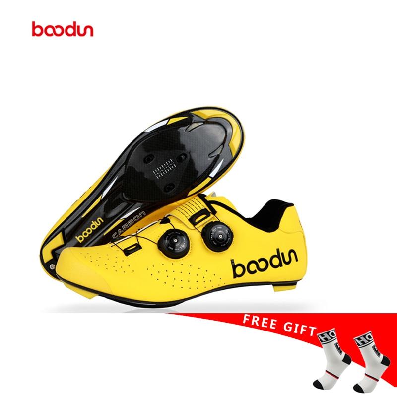 Boodun 2019new style chaussures de cyclisme sur route en Fiber de carbone hommes autobloquant course respirant ultra-léger professionnel baskets de vélo