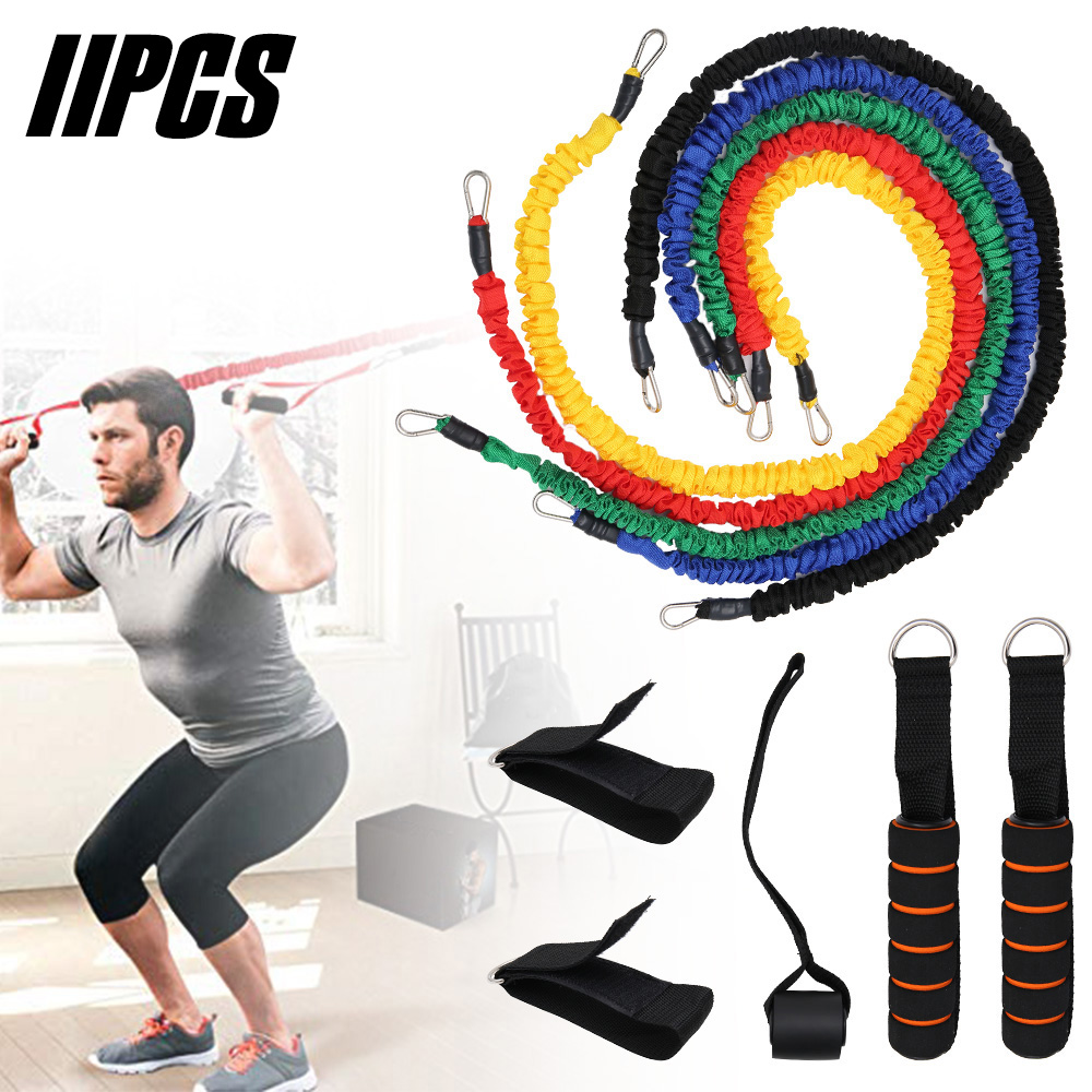11pcs Resistance Bands Latex Fitness Pull Rope Strength Gym Equipment Home Elastic Exercises Body Fitness Workout Equipment