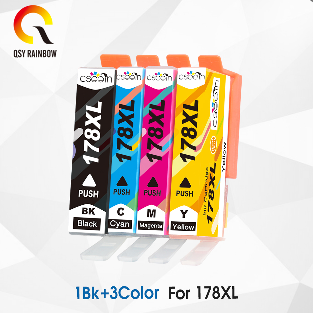 4 Compatible Ink cartridge for <font><b>HP</b></font> <font><b>178</b></font> XL hp178 Photosmart B109 B110 B210 C309 C310 C410 D5468 D5463 D5460 printer image