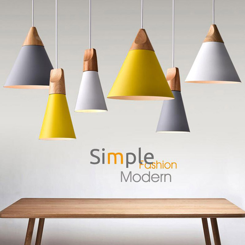 Nordic Combined Bar Real Wood Pendant Lights Multicolor Aluminum Lamp Shade Pendant Lamps For Dining Room Home Lighting Fixture
