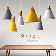 Nordic Kombiniert Bar Echt Holz Anhänger Lichter Multicolor Aluminium Lampe Schatten Anhänger Lampen für Esszimmer Hause Leuchte