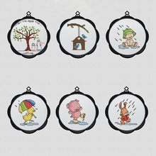 Cute Cartoon Baby Bedroom Cross Stitch Photo Frame DIY Hand Embroidery Toolkit Digital Printing on Canvas Sewing Kit Is Simple