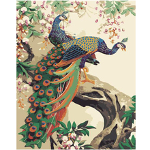 WONZOM Beautiful Peacocks Paint By Numbers Kit Home Decor Oil Canvas Painting With Frame Wall Art Picture Acrylic 40X50CM