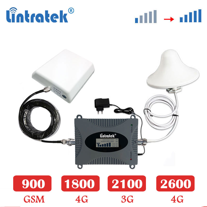 Lintratek 2600mhz B7 4G LTE Cellular Amplifier Repeater 3G 2100 WCDMA GSM 900 1800mhz 4g LTE 1800 Signal Booster Set Antenna Sk