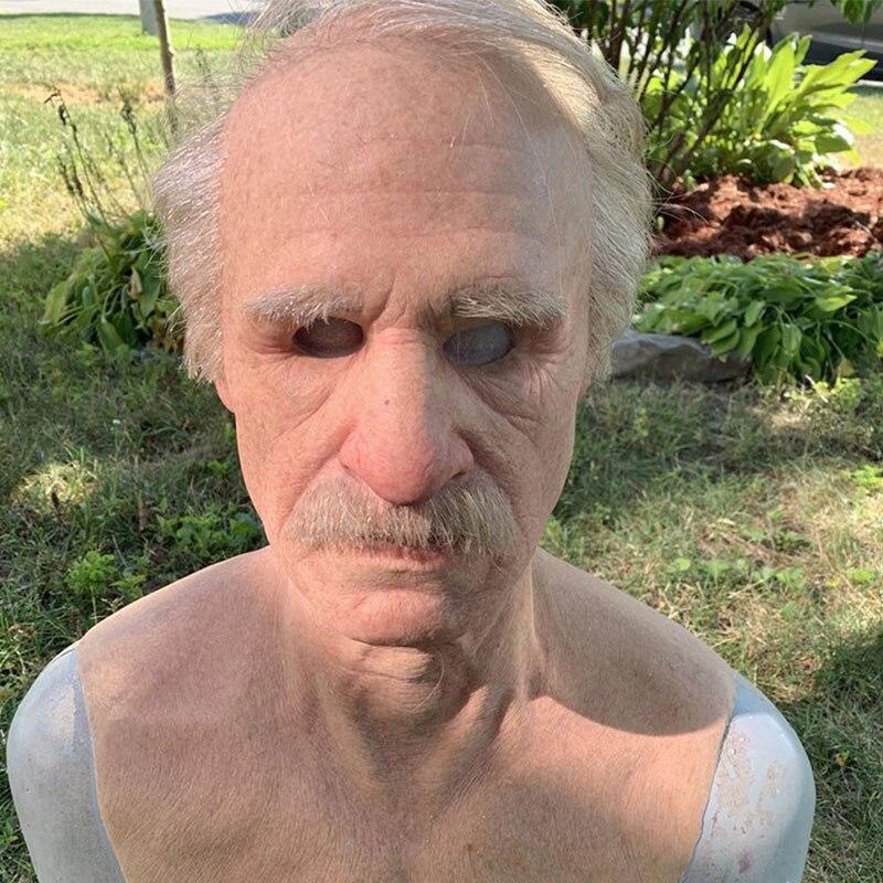 Маска для стариков на Хэллоуин, страшная латексная маска на всю голову для стариков, Реалистичная маска для людей с морщинами для Хэллоуина,...