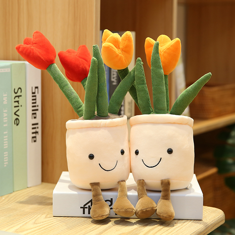 35cm Simulation Tulip Plants Plush Toys Room Decor Stuffed Creative Potted Flowers Pillow Soft Doll for Girls Kids Birthday Gift
