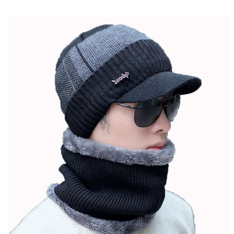 Men Winter Hat And Scarf Set For Women Male Ring Scarves Cap With Brim Knitted Visor Beanies Balaclava Adult Warm 2 Pcs Set