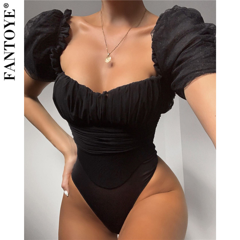 FANTOYE Black Mesh Puff Sleeve Bodysuit Women Skinny Square Neck Sheath Basic Bodysuits Ladies Elegant Overalls Women Body Tops