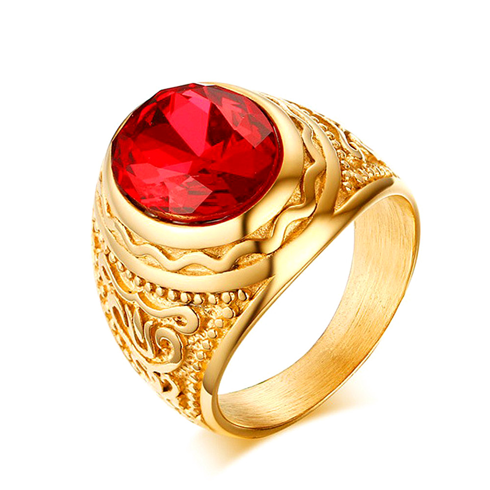 Vintage carving luxury ruby gemstones red zircon diamonds rings for men gold tone stainless steel jewelry bijoux Dubai accessory