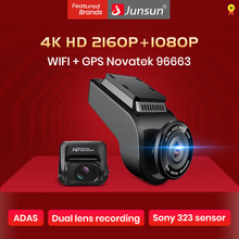 Car-Dvrs-Recorder Gps-Tracker Night-Vision-Camera Dashcam Dual-Lens Rear-Camer Junsun 4k