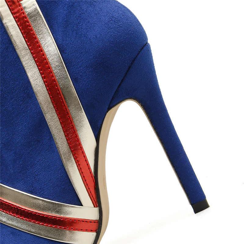Phụ nữ Sang Trọng Thiết Kế Xanh Dương Tất Giày 2019 Sexy Mỏng 11.5cm Giày Cao Gót Chiến Đấu Giày Mùa Thu Thương Hiệu Botas Mujer Đế mũi Nhọn Giày