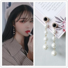 Simple ins style trendy elegant earrings personalityear  Pearl ear long pendant jewelry for wedding gift
