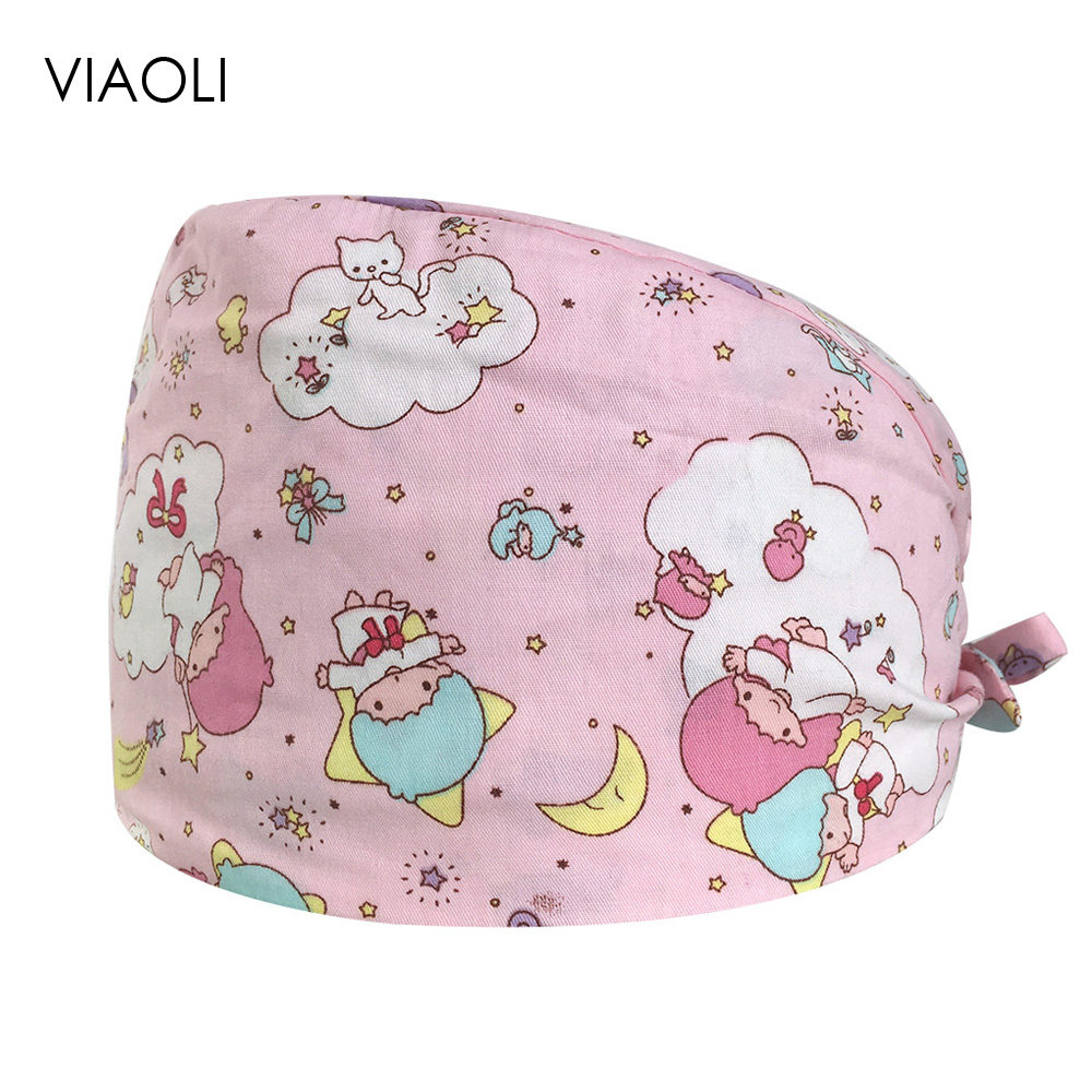 Operating Room Hat Doctor Nurse Unisex Work Caps Beauty Pet Dental Cotton Printing Medical Work Cap Multi-purpose Breathable Cap