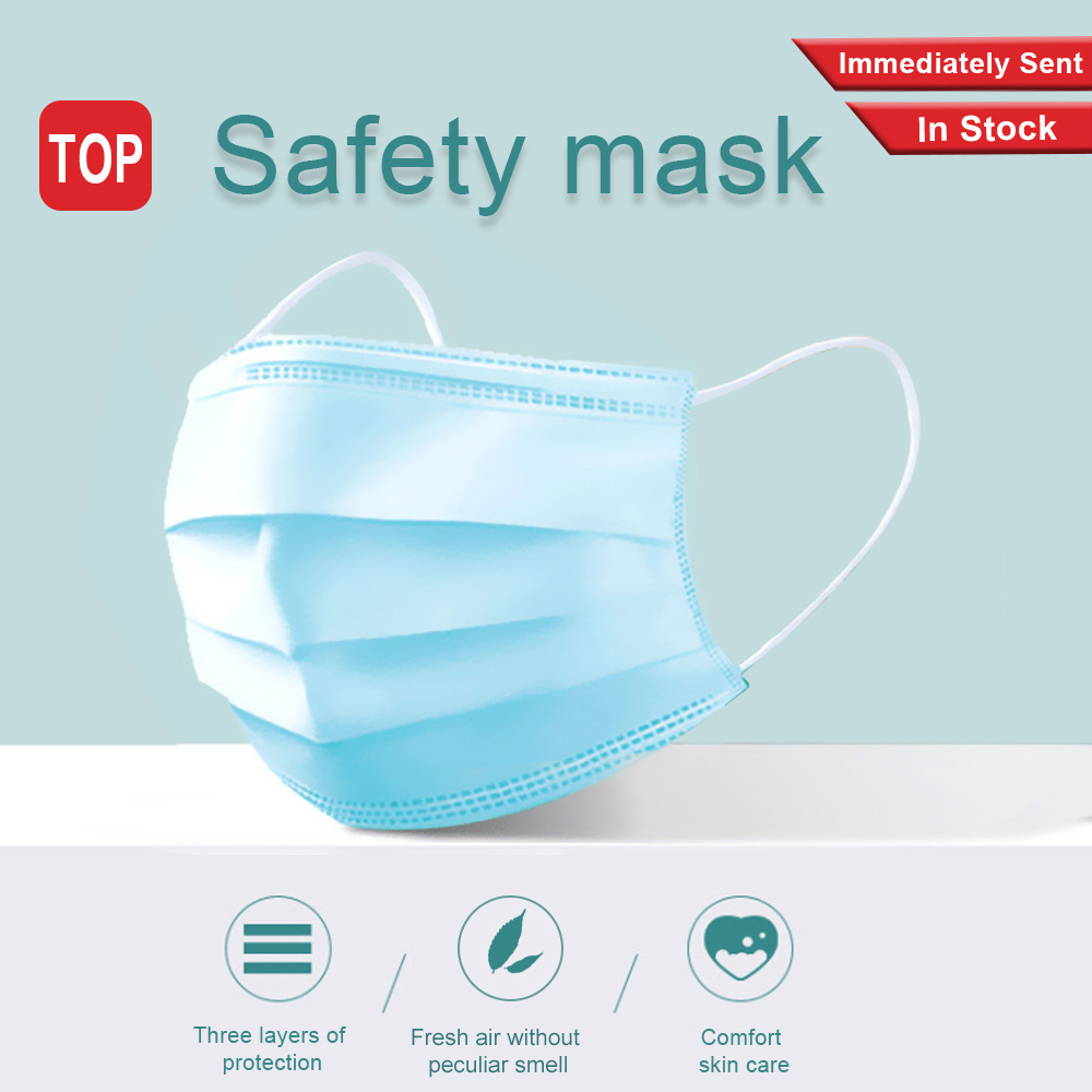 10/50/200/500Pcs Disposable Mask 3 Layers Earloops Masks Breathing Safety Face Mouth Masks Non-woven Blue Face Mask