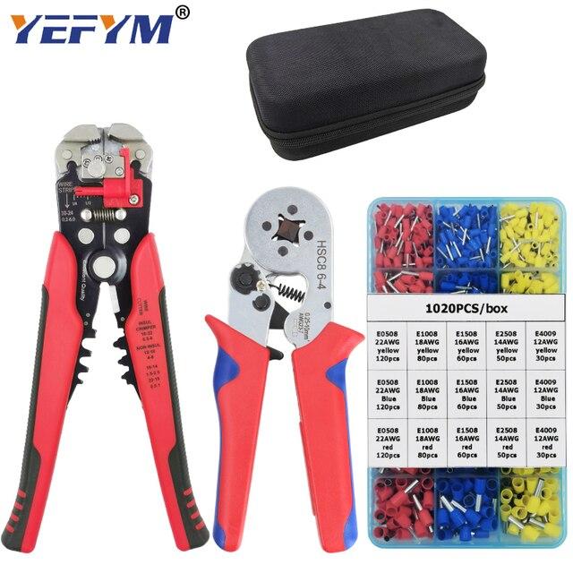 YEFYM HSC8 6 4/6 6 Crimping צבת ערכת YE 1R הפשטה חיתוך Plier עם 1020 יח\קופסא צינור מסוף חליפה חשמלי כלים סט