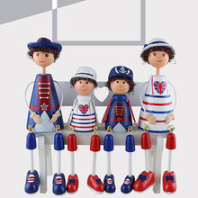 2 Pcs Cute 310 Mini Wooden Hand Painted Resin Craft Hanging Foot Dolls Miniature Gift Home Decorations Figurines
