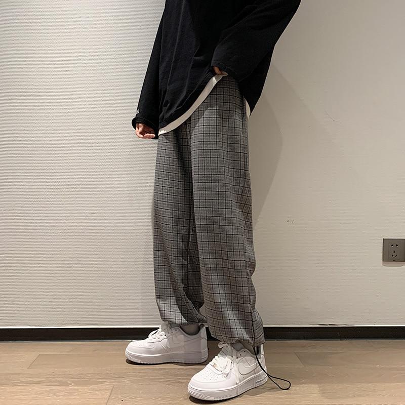 New Men's Plaid Casual Harem Pants Korean Man Loose Ankle-Length Trousers Harajuku Streetwear Trousers Plus Size Male Clothing