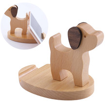 Cute Wooden Mobile Phone Case Base Bracket Creative Puppy Deer Beech Desktop Phone Holder for Smart Phone Tablet(China)