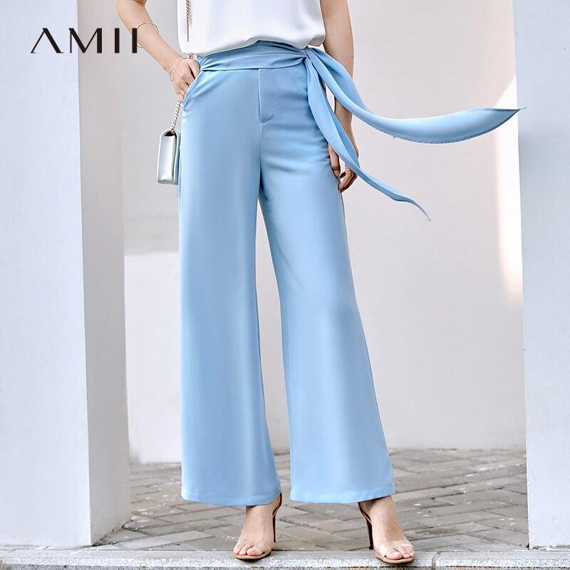 Amii Minimalist Flare Pant Summer Women High Waist Solid Loose Female Chiffon Pants 11920104