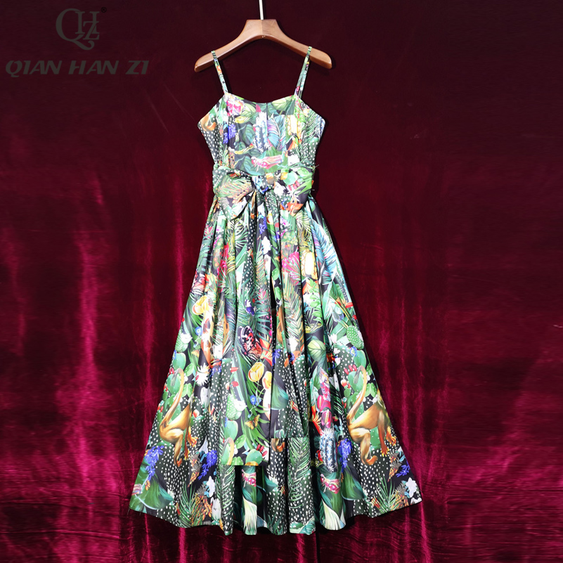 Qian Han Zi Summer Designer Fashion Runway Maxi Dress Women Casual Print Elegant Spaghetti Strap Sexy Beach Vacation Long Dress