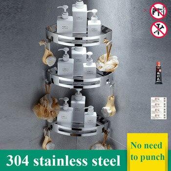 Estante de almacenamiento para cocina de acero inoxidable, estante multifuncional para baño, soporte de perforación, soporte de esquina, estantes de almacenamiento