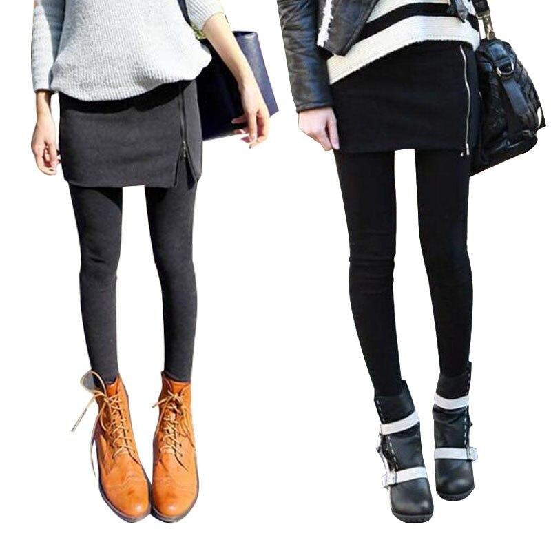 Mallas de felpa gruesas para mujer, falda falsa de dos piezas de algodón con cremallera, de una pieza, para otoño y primavera