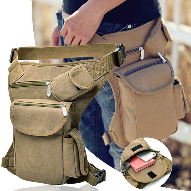 Men Military Tactical Travel Riding Motorcycle Bag Portable Waist Messenger Bag Casual Canvas Drop Thigh Leg Multi- Pouch