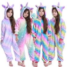 Зимние пижамы кигуруми для мальчиков и девочек; комбинезон с единорогом и аниме-животными; детская одежда для сна; фланелевый теплый комбинезон; детские пижамы